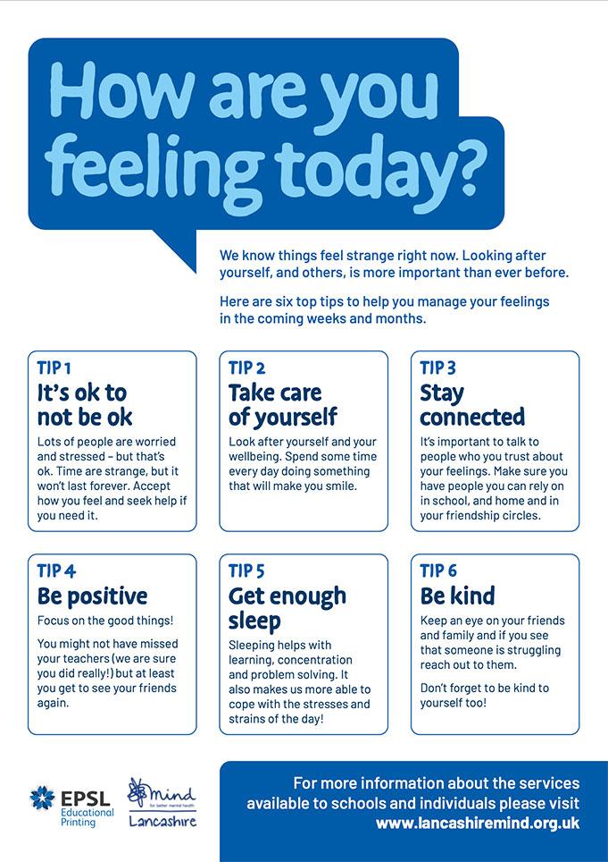 Secondary School Mental Health Advice Poster